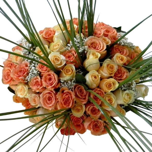 Ramo Bouquet de 80 Rosas en Florero - Envío de flores y plantas, Florería La Fleur, Montevideo, Uruguay.
