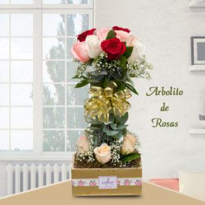 Arreglo Floral Arbolito de Rosas - Envío de flores y plantas, Florería La Fleur, Montevideo, Uruguay.