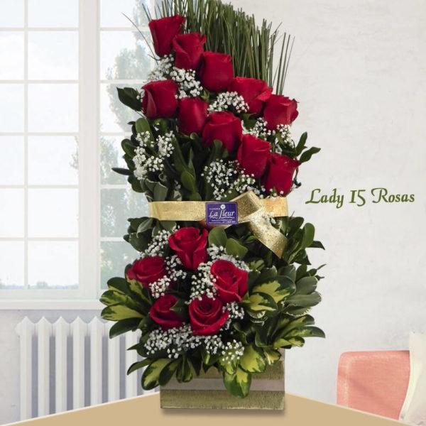 Arreglo Lady de 15 Rosas - Envío de flores y plantas, Florería La Fleur, Montevideo, Uruguay.