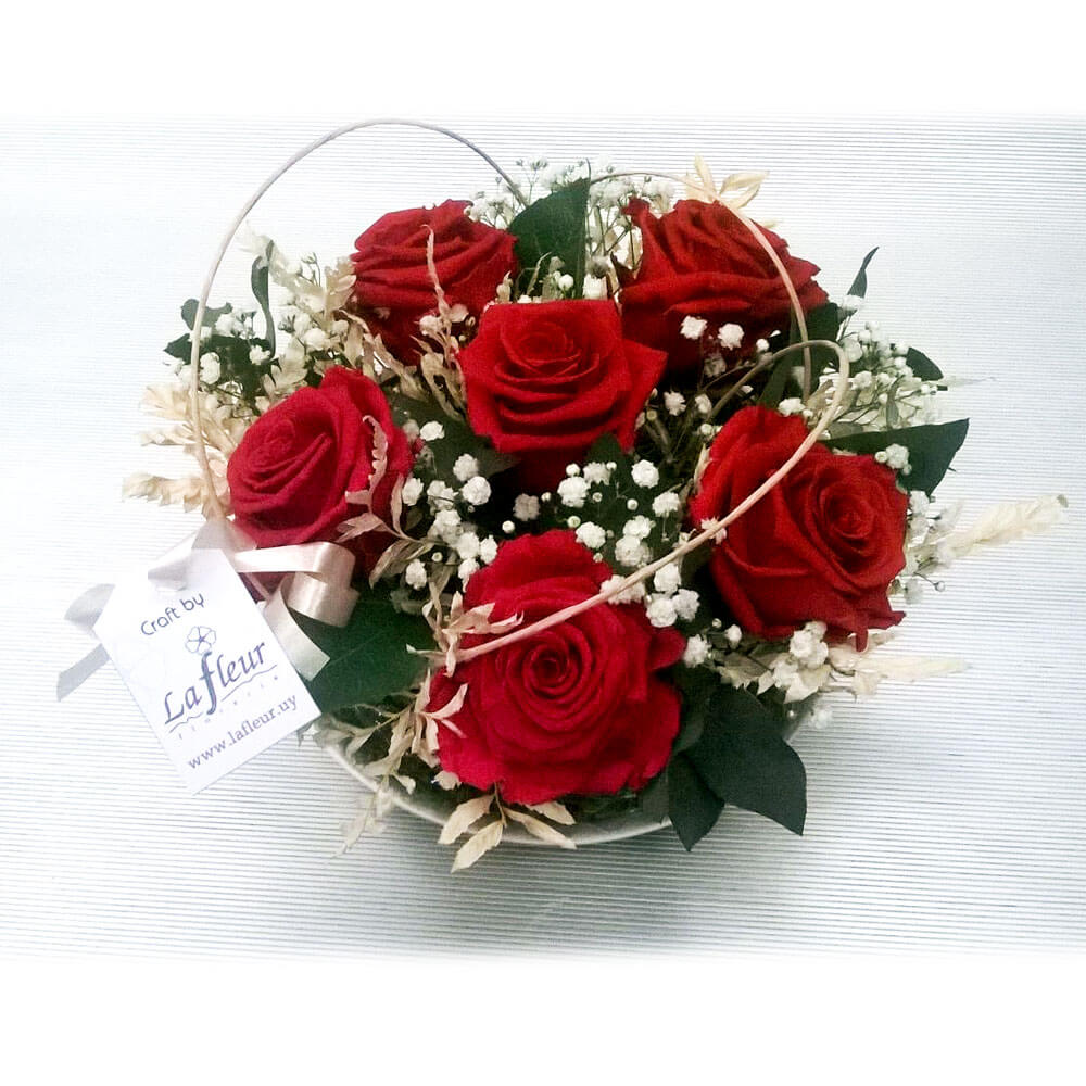 Centro de mesa de rosas preservadas muy duraderas - Centros de mesa de flores ...