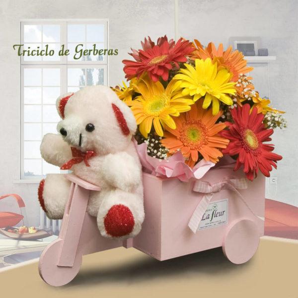 Arreglo Floral Triciclo con Gerberas, Globo y Peluche - Envío de flores y plantas, Florería La Fleur, Montevideo, Uruguay.